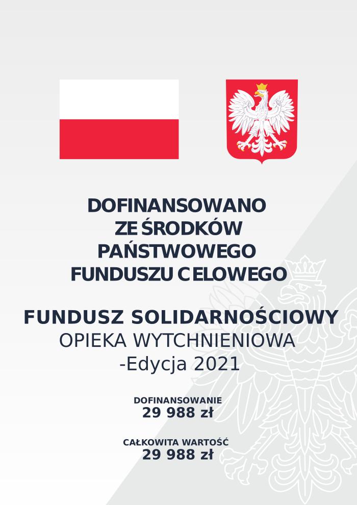 Plakat informacja o dofinansowaniu opieki wytchnieniowej z funduszu solidarnościowego
